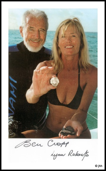 Ben Cropp had made over 100 TV documentary by the year 2000 when this picture was taken aboard his boat, Freedom II, with his underwater assistant Lynn Roberts.