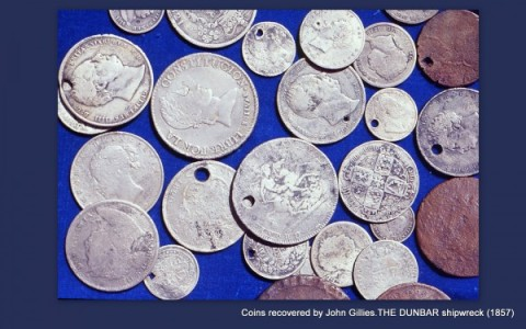 Coins found on The Dunbar wreck site by the late John Gillies